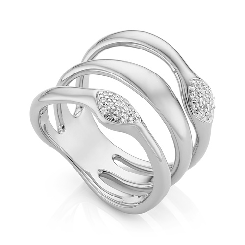 Nura Teardrop Multi Band Diamond Ring - Diamond - Monica Vinader