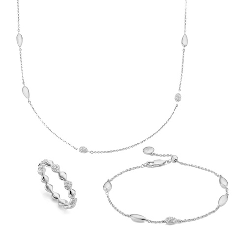 Nura Mixed Station Necklace and Bracelet with Multi Band Ring Diamond set - Monica Vinader