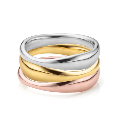 Nura Reef Mixed Finish Stacking Ring set - Monica Vinader