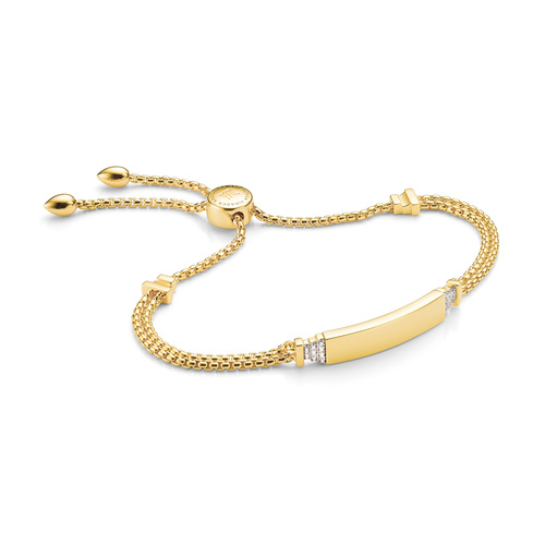 Gold Vermeil Baja Deco ID Diamond Bracelet - Diamond - Monica Vinader