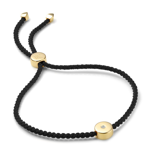 Gold Vermeil Linear Solo Friendship Diamond Bracelet - Black Cord - Energy - Diamond - Monica Vinader