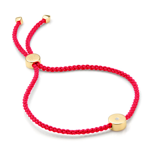 Gold Vermeil Linear Solo Friendship Diamond Bracelet - Fluro Coral Cord - Diamond - Monica Vinader