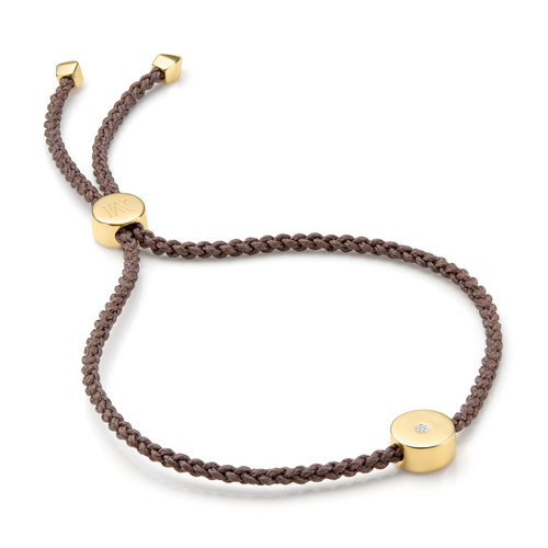 Gold Vermeil Linear Solo Friendship Diamond Bracelet - Mink Cord - Diamond - Monica Vinader