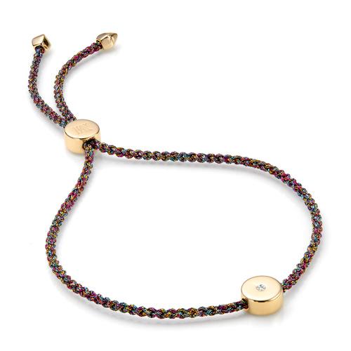 Gold Vermeil Linear Solo Friendship Diamond Bracelet - Rainbow Cord - Diamond - Monica Vinader