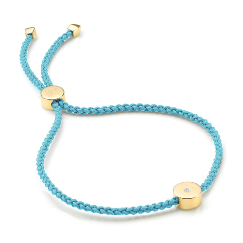 Gold Vermeil Linear Solo Friendship Diamond Bracelet - Sky Blue Cord - Diamond - Monica Vinader
