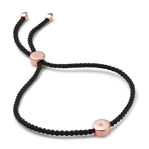 Rose Gold Vermeil Linear Solo Friendship Diamond Bracelet - Black Cord - Energy - Diamond - Monica Vinader