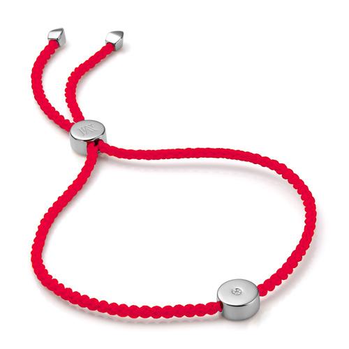 Linear Solo Friendship Diamond Bracelet - Fluro Coral Cord - Diamond - Monica Vinader