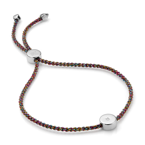 Sterling Silver Linear Solo Friendship Diamond Bracelet - Rainbow Cord - Diamond - Monica Vinader
