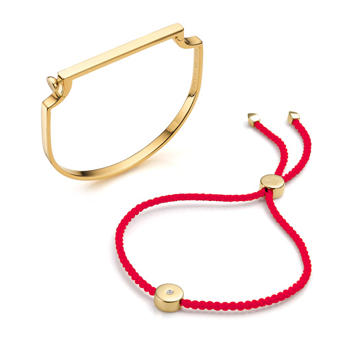 Signature Bangle and Linear Solo Bracelet Set - Monica Vinader