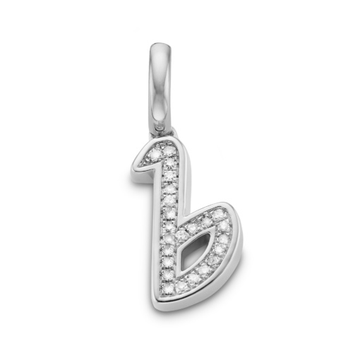 Sterling Silver Alphabet B Diamond Pendant Charm - Diamond - Monica Vinader