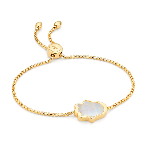 Gold Vermeil Atlantis Hamsa Friendship Chain Bracelet - Moonstone - Monica Vinader