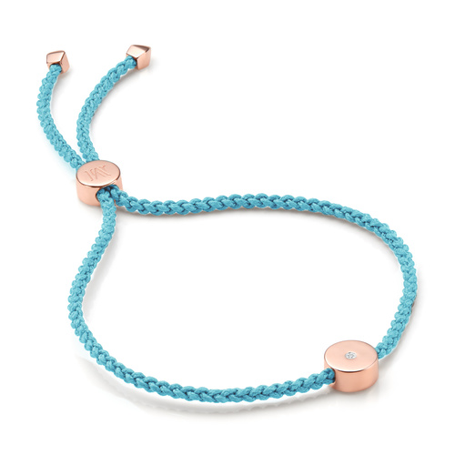 Rose Gold Vermeil Linear Solo Friendship Diamond Bracelet - Sky Blue Cord - Diamond - Monica Vinader
