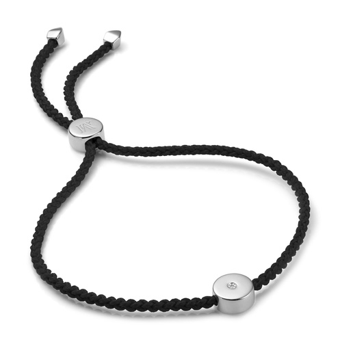 Sterling Silver Linear Solo Friendship Diamond Bracelet - Black Cord - Diamond - Monica Vinader