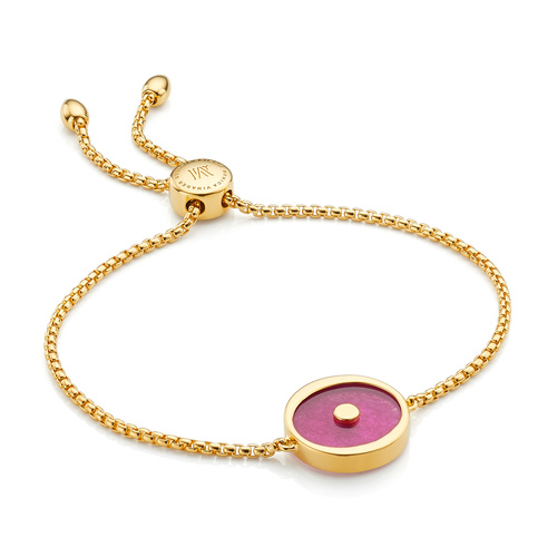 Gold Vermeil Atlantis Evil Eye Friendship Chain Bracelet - Pink Quartz - Monica Vinader