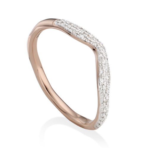 Rose Gold Vermeil Riva Diamond Wave Stacking ring - Diamond - Monica Vinader