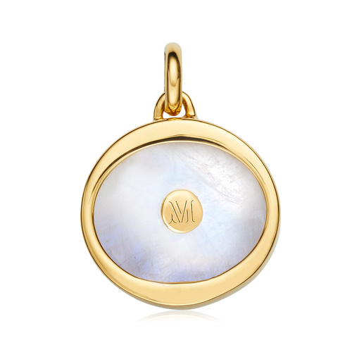 Gold Vermeil Atlantis Evil Eye Pendant Charm - Moonstone - Monica Vinader