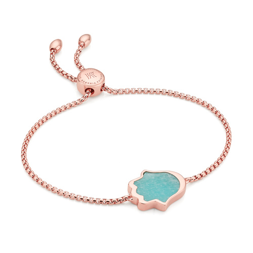 Rose Gold Vermeil Atlantis Hamsa Friendship Chain Bracelet - Amazonite - Monica Vinader