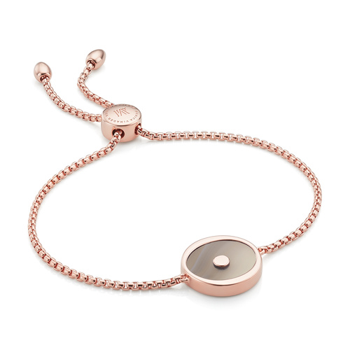 Rose Gold Vermeil Atlantis Evil Eye Friendship Chain Bracelet - Grey Agate - Monica Vinader