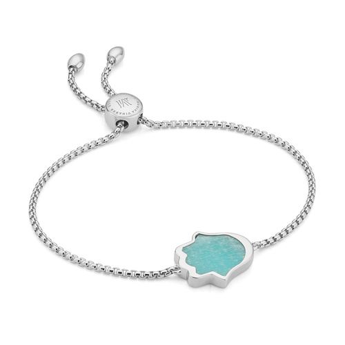 Sterling Silver Atlantis Hamsa Friendship Chain Bracelet - Amazonite - Monica Vinader