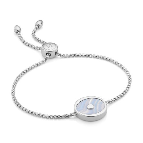 Sterling Silver Atlantis Evil Eye Friendship Chain Bracelet - Blue Lace Agate - Monica Vinader