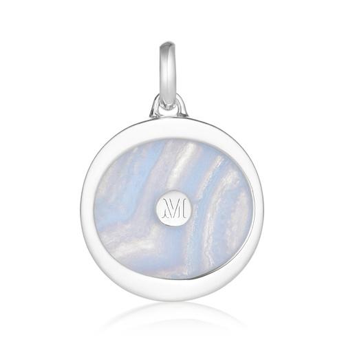 Atlantis Evil Eye Pendant Charm - Blue Lace Agate - Monica Vinader