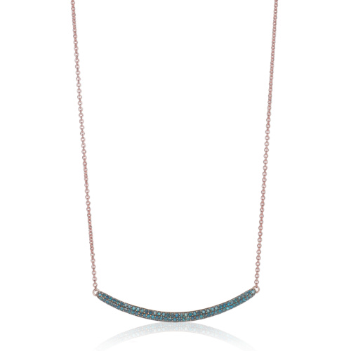 Rose Gold Vermeil Skinny Curve Necklace - Blue Diamond - Monica Vinader
