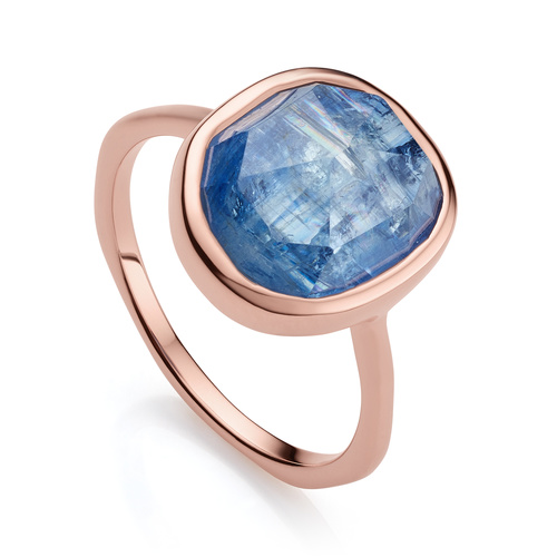 Rose Gold Vermeil Siren Medium Stacking Ring - Kyanite - Monica Vinader