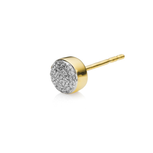 Gold Vermeil Fiji Mini Button Stud Single Earring - Diamond - Monica Vinader