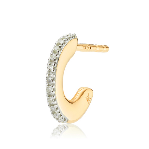 Gold Vermeil Fiji Small Skinny Hoop Diamond Single Earring - Diamond - Monica Vinader