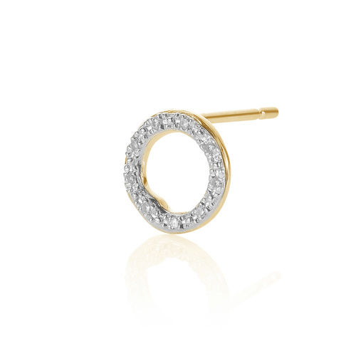 Gold Vermeil Riva Diamond Circle Stud Single Earring - Diamond - Monica Vinader
