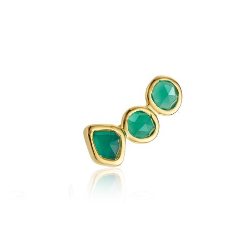 Gold Vermeil Siren Single Climber Earring - Green Onyx - Monica Vinader