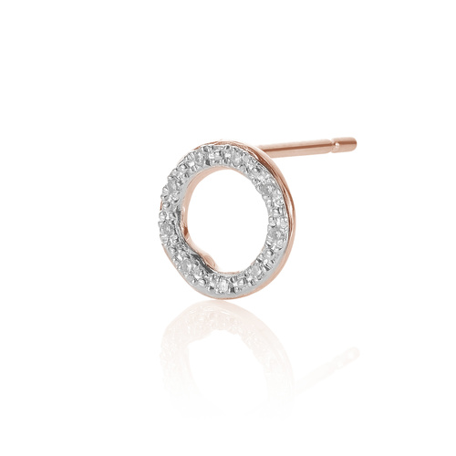 Rose Gold Vermeil Riva Diamond Circle Stud Single Earring - Diamond - Monica Vinader