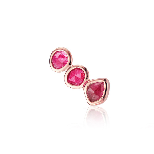 Rose Gold Vermeil Siren Climber Single Earring - Pink Quartz - Monica Vinader