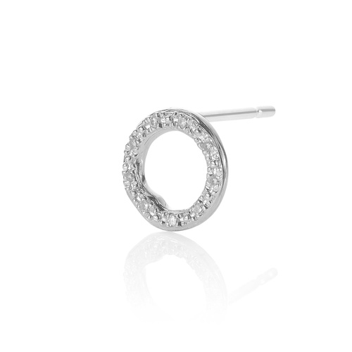 Sterling Silver Riva Diamond Circle Stud Single Earring - Diamond - Monica Vinader