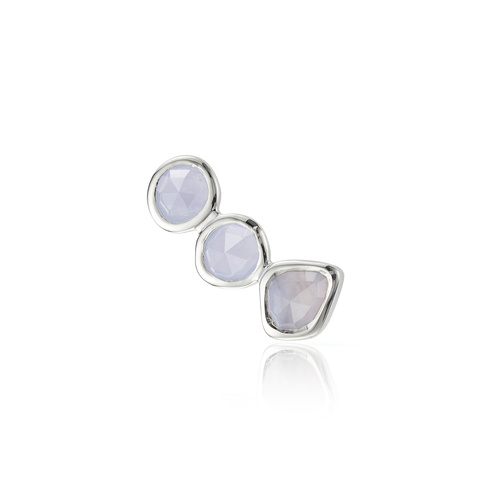 Sterling Silver Siren Climber Single Earring - Blue Lace Agate - Monica Vinader