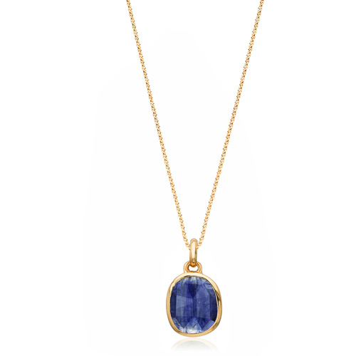 Siren Medium Bezel Pendant Charm Necklace Set - Kyanite - Monica Vinader
