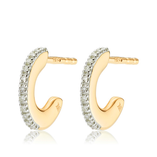 Gold Vermeil Fiji Small Skinny Hoop Diamond Earrings - Diamond - Monica Vinader