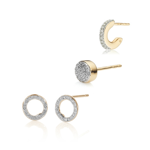 Riva Circle Studs and Fiji Single Earring Diamond Set  - Monica Vinader