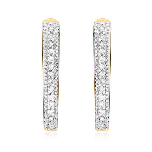 Gold Vermeil Alta Capture Huggie Diamond Earrings - Diamond - Monica Vinader