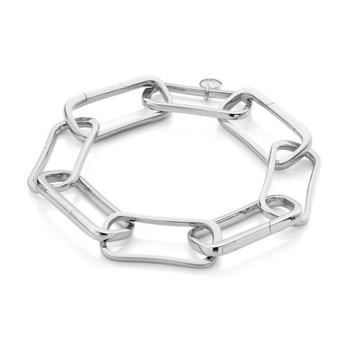 Sterling Silver Alta Capture Large Link Charm Bracelet - Monica Vinader