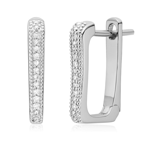 Sterling Silver Alta Capture Huggie Diamond Earrings - Diamond - Monica Vinader