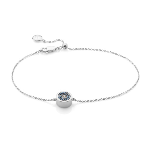 Sterling Silver Evil Eye Chain Bracelet - Diamond - Monica Vinader