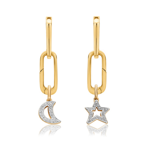 Alta Capture and Diamond Star and Moon Pendant Charm Earring Set - Monica Vinader