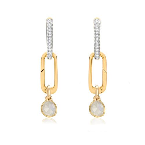 Alta Capture and Siren Mini Pendant Charm Diamond Huggie Earring Set - Monica Vinader