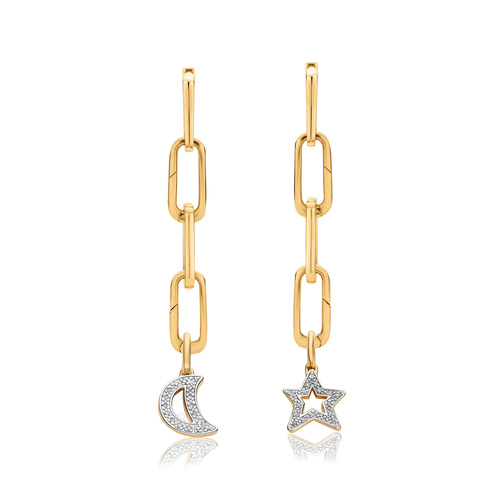Alta Capture and Diamond Moon and Star Pendant Charm Cocktail Earring Set - Monica Vinader