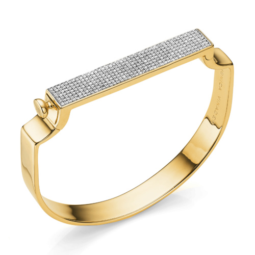 Gold Vermeil Signature Bangle - Diamond - Monica Vinader