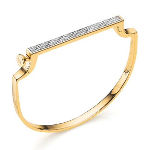 Gold Vermeil Signature Thin Diamond Bangle - Diamond - Monica Vinader