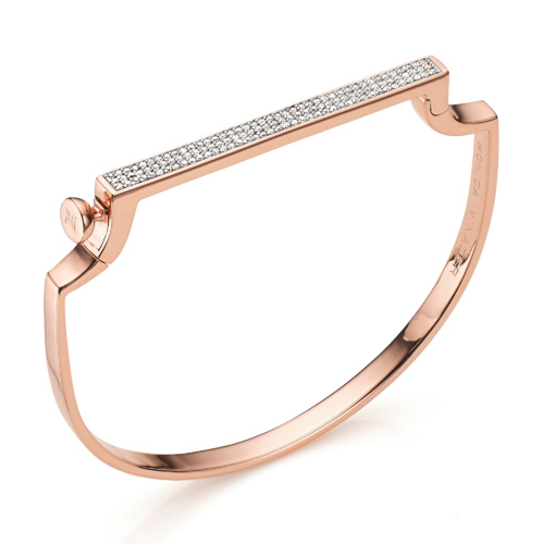 Rose Gold Vermeil Signature Petite Thin Bangle - Diamond - Monica Vinader