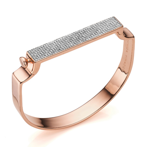Rose Gold Vermeil Signature Petite Bangle - Diamond - Monica Vinader