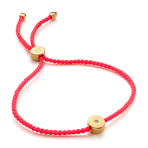 Gold Vermeil Linear Solo Friendship Diamond Bracelet - Fluro Coral Cord - Diamond - Monica Vinader